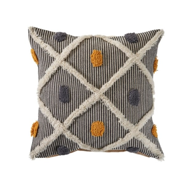 blue and orange tufted accent pillow