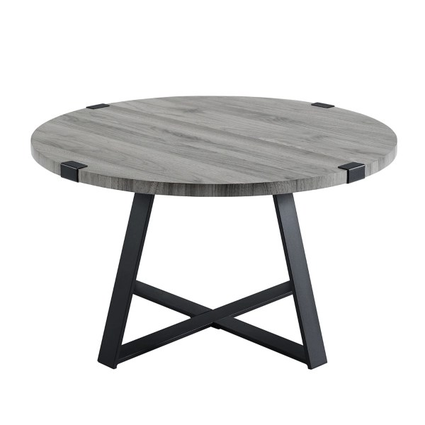 slate gray rustic wood round coffee table