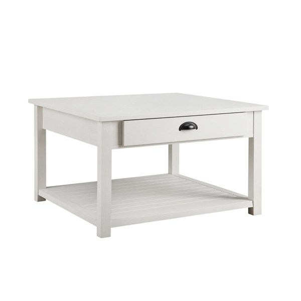 brushed white square coffee table