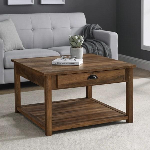 rustic oak square coffee table