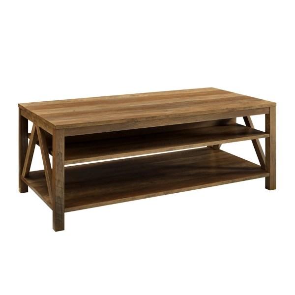 rustic oak framed coffee table