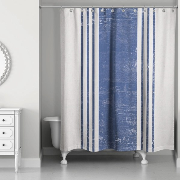 distressed navy striped shower curtain