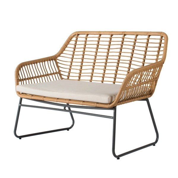 cream and tan rattan and metal outdoor loveseat