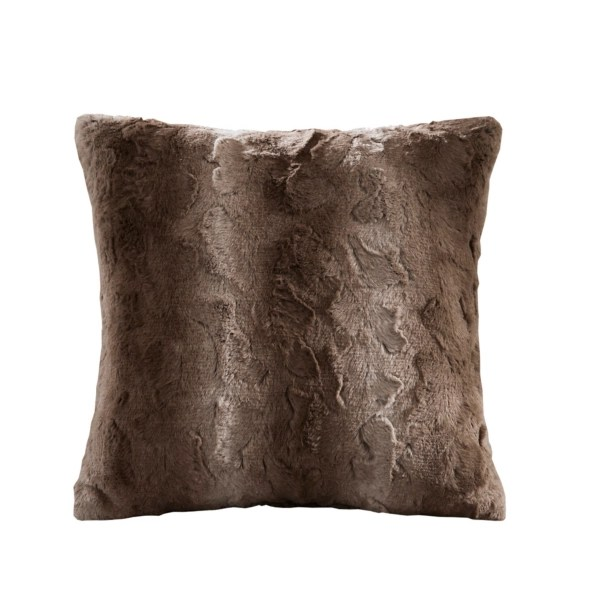 natural brown textured faux fur pillow