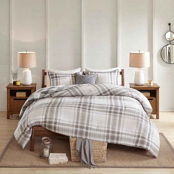 gray plaid california king 4 pc comforter set