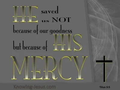 Titus 3:5 He Saved Us By His Mercy (gray)