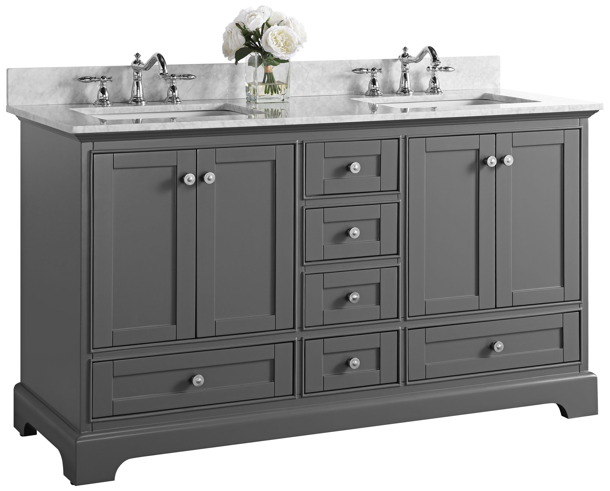 audrey sapphire gray 60 white marble double sink vanity