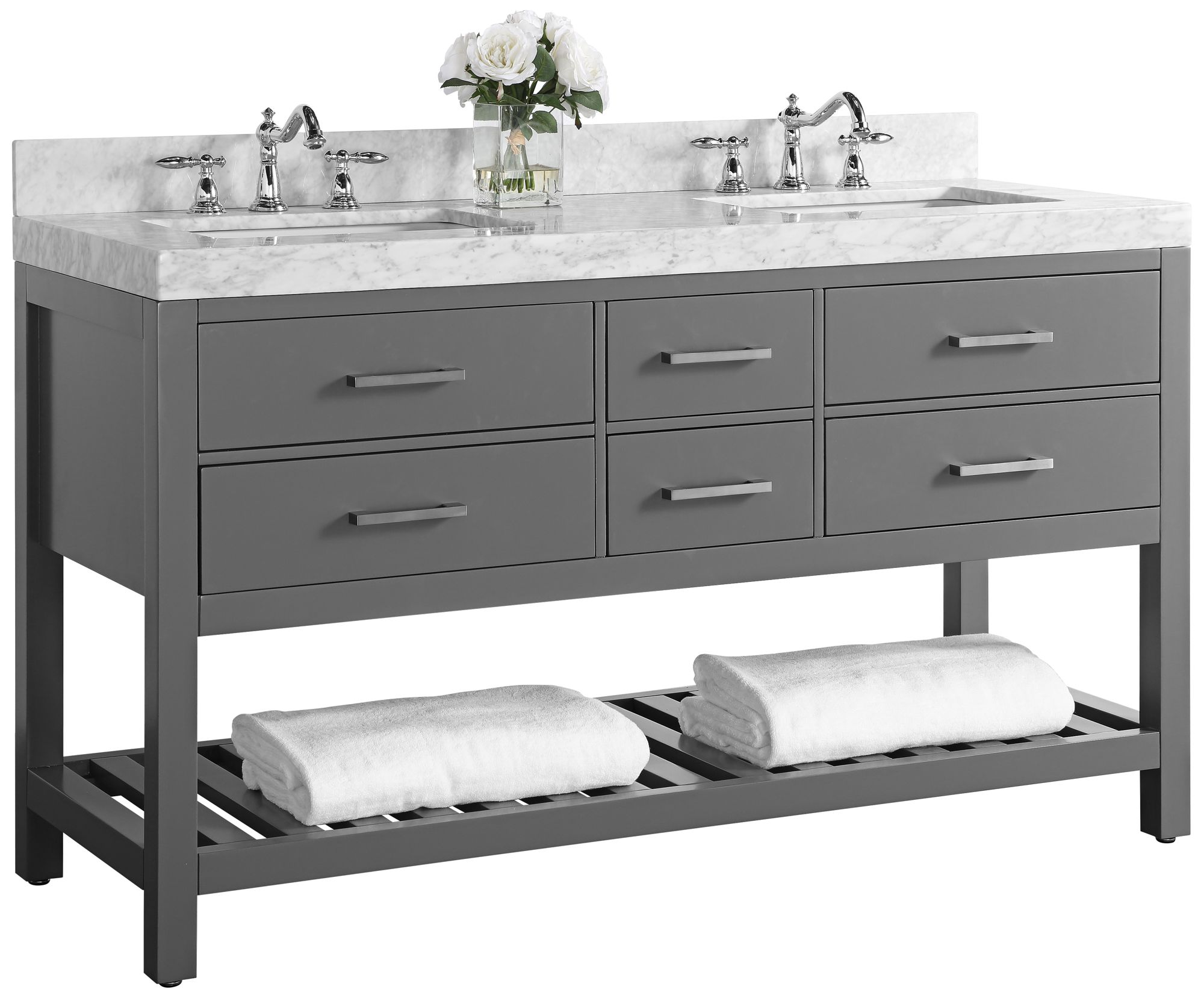 elizabeth sapphire gray 60 marble top double sink vanity