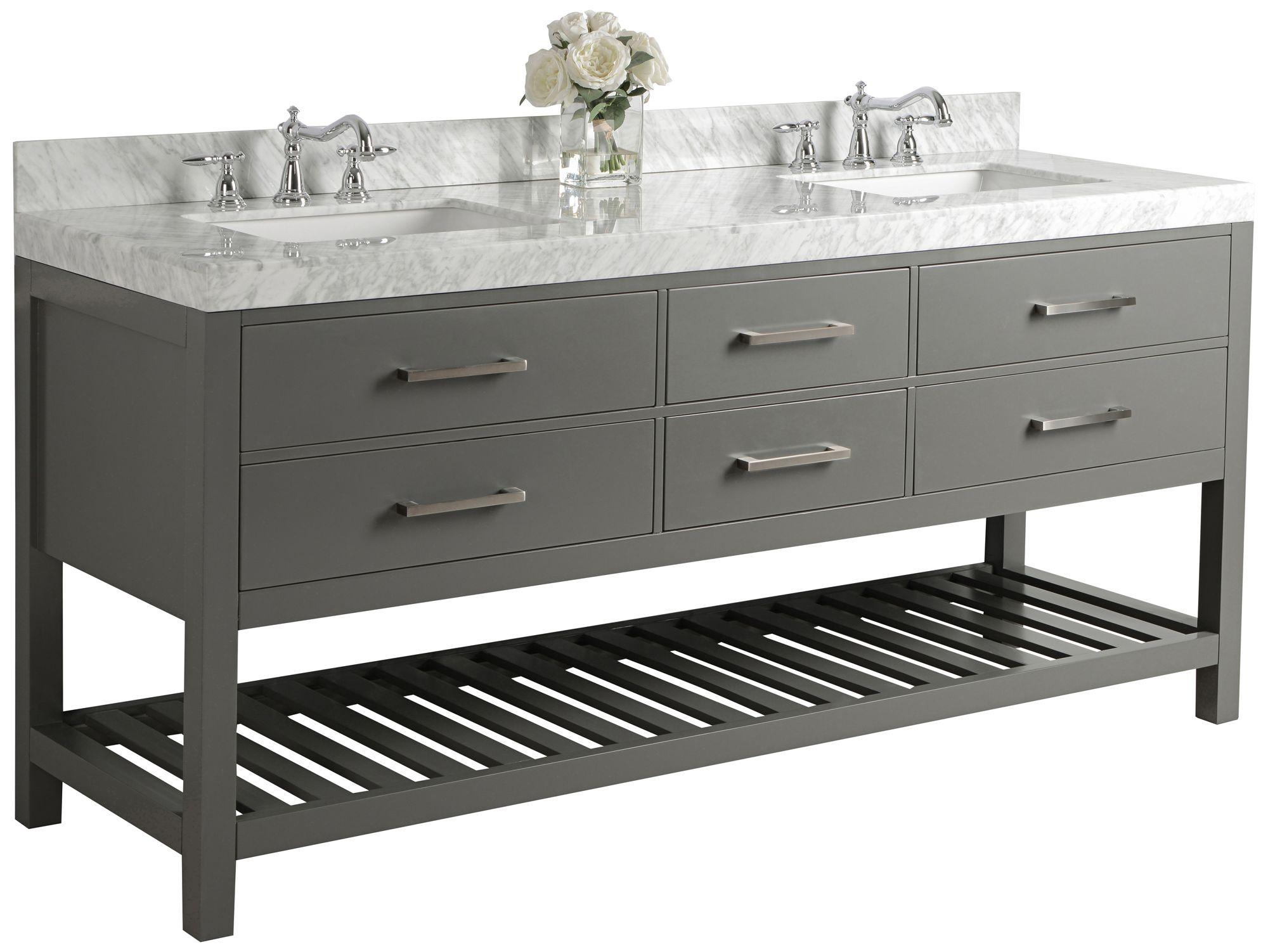 elizabeth sapphire gray 72 marble top double sink vanity
