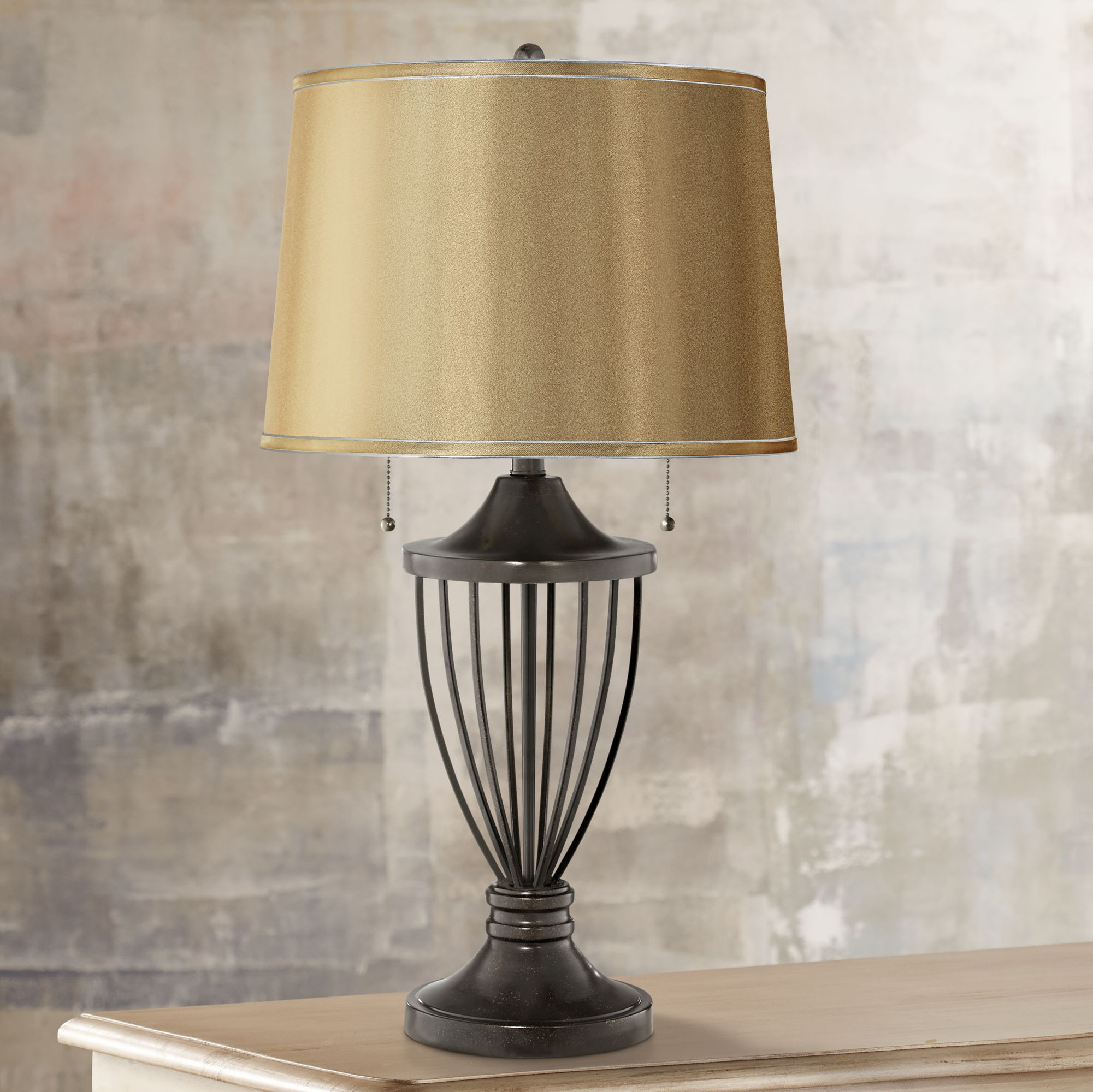 Details About Table Lamp Open Urn Bronze Iron Gold Satin Shade For Living Room Bedroom Bedside