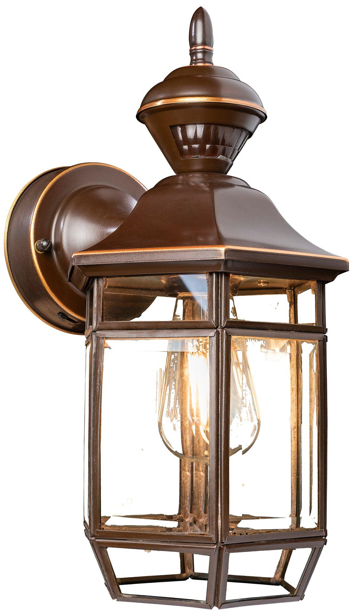 antique copper 13 1 2 dusk to dawn motion sensor wall light