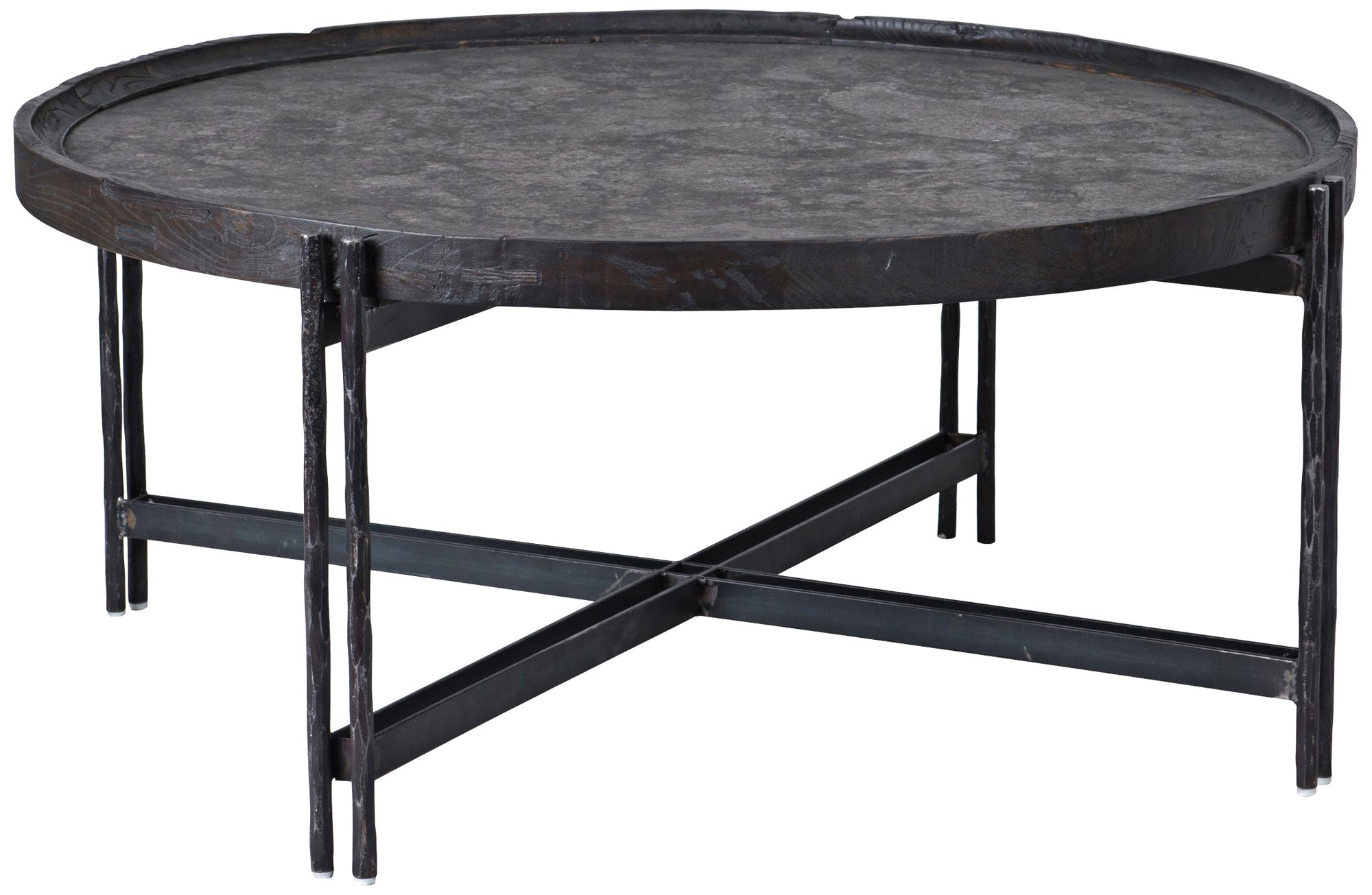 melvin black iron and wood round coffee table