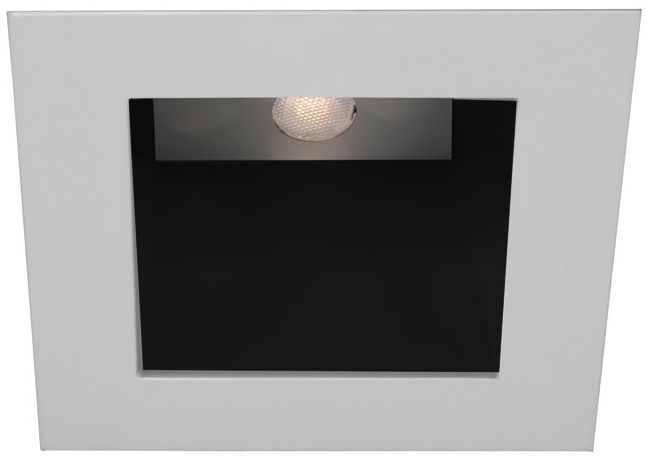 wac white black 4 led square recessed light trim