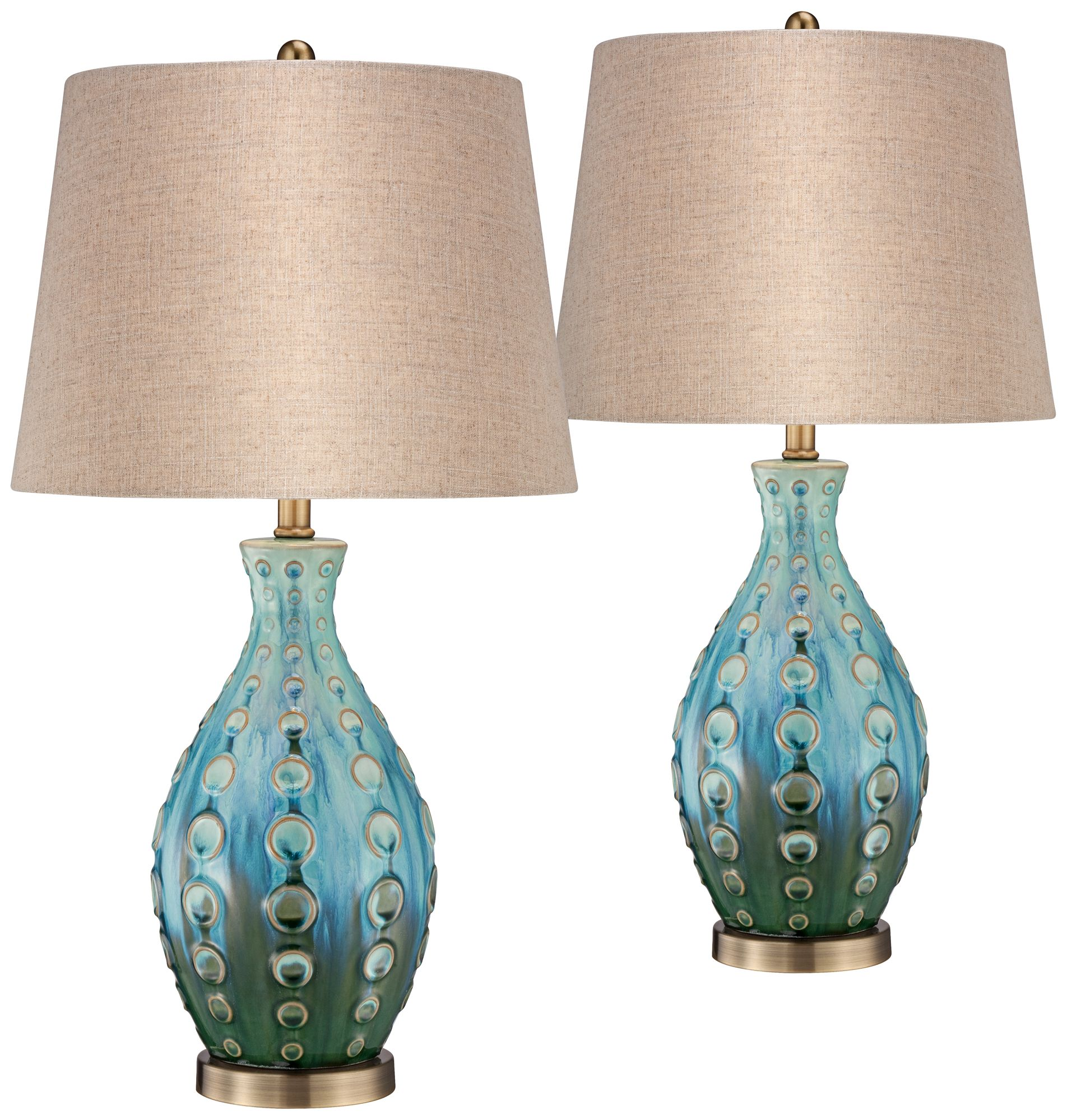 Details About Mid Century Modern Table Lamps Set Of 2 Ceramic Teal For Living Room Bedroom