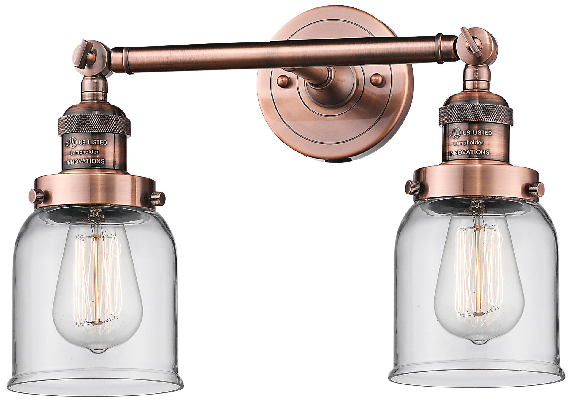 """Small Bell 10"""" High Copper 2-Light Adjustable Wall Sconce ... on Small Wall Sconce Light id=83822"""