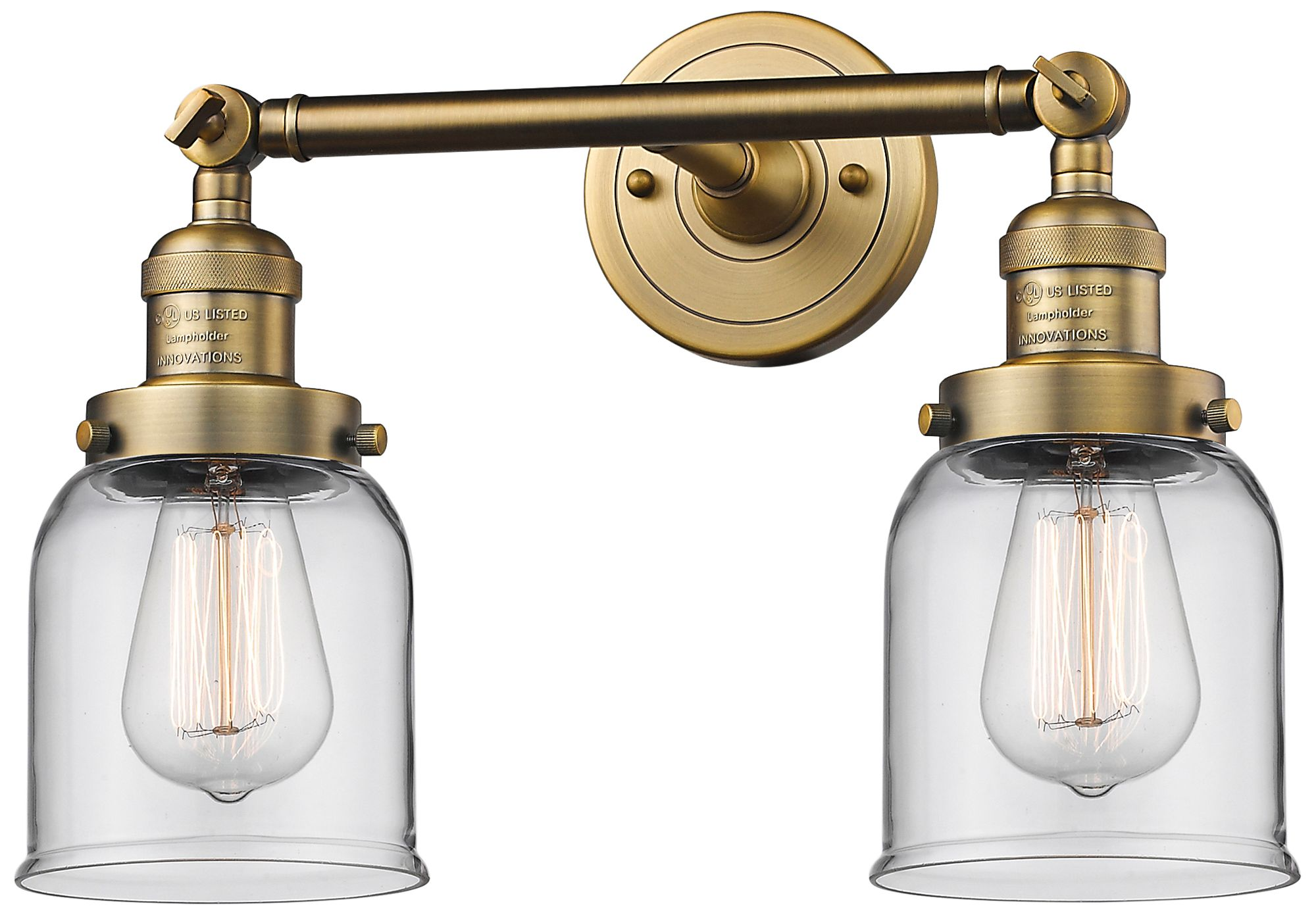 """Small Bell 10""""H Brushed Brass 2-Light Adjustable Wall ... on Small Wall Sconce Light id=88386"""