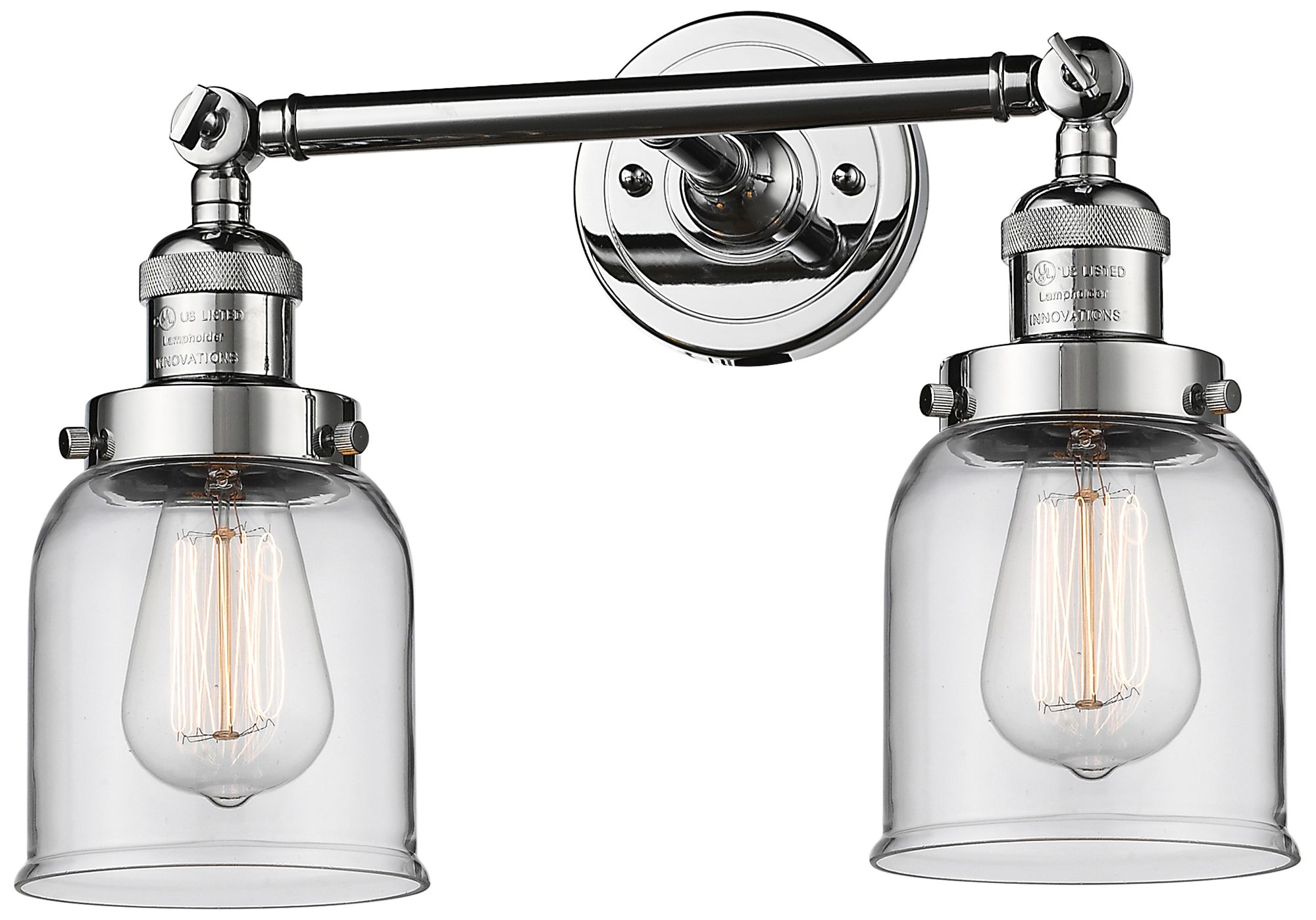 """Small Bell 10"""" High Chrome 2-Light Adjustable Wall Sconce ... on Small Wall Sconce Light id=36269"""