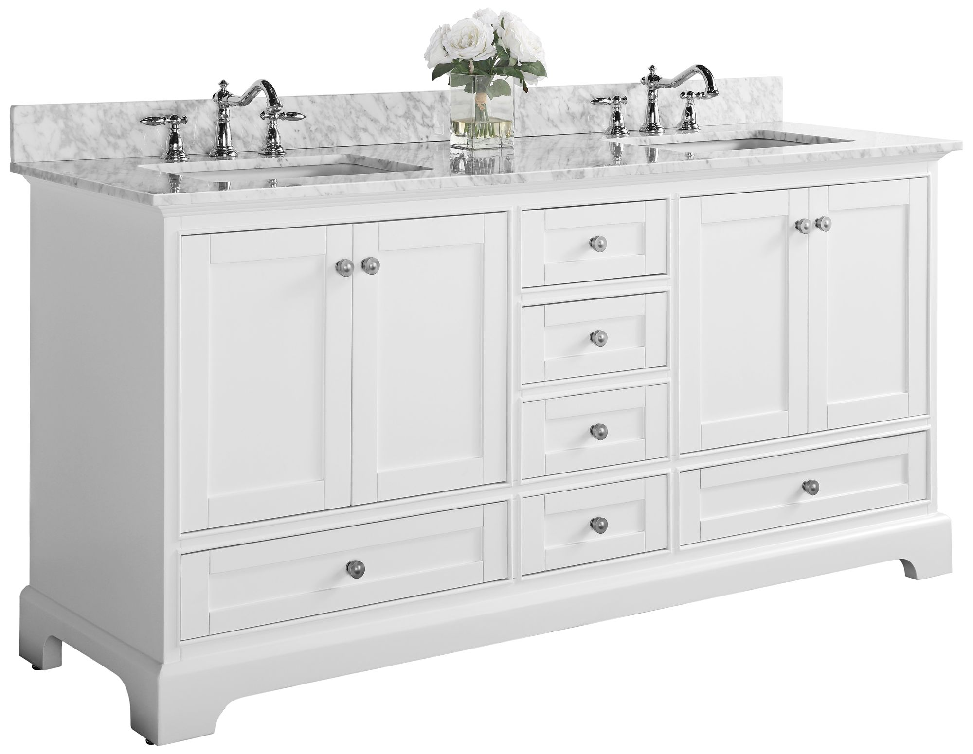 audrey 72 white 6 drawer double sink vanity