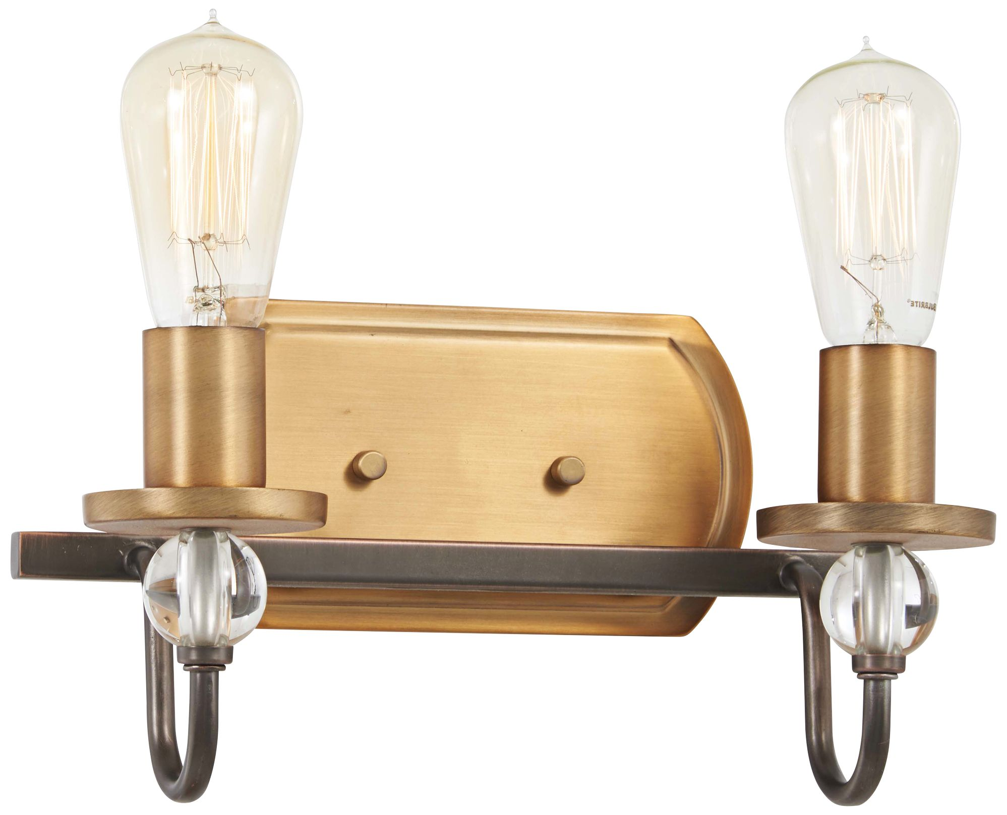 "Safra 10 1/2""H Bronze and Brushed Brass 2-Light Wall ... on Bathroom Sconce Lights Brushed Bronze id=78091"