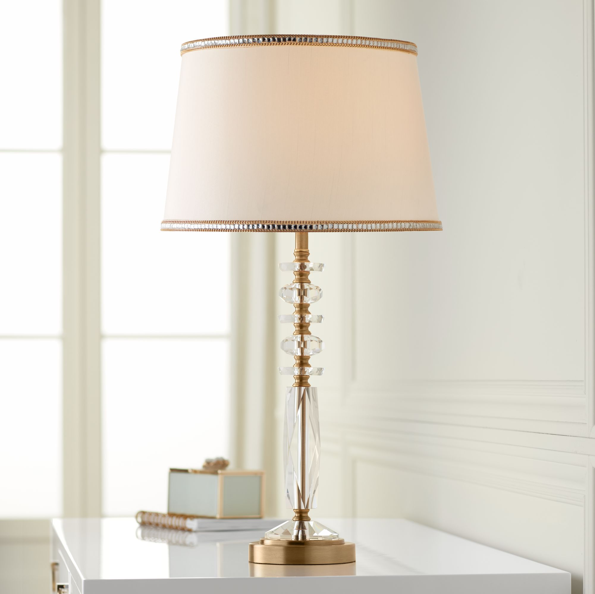 Details About Modern Table Lamp Gold Metal Clear Crystal Glass For Bedroom Bedside Nightstand