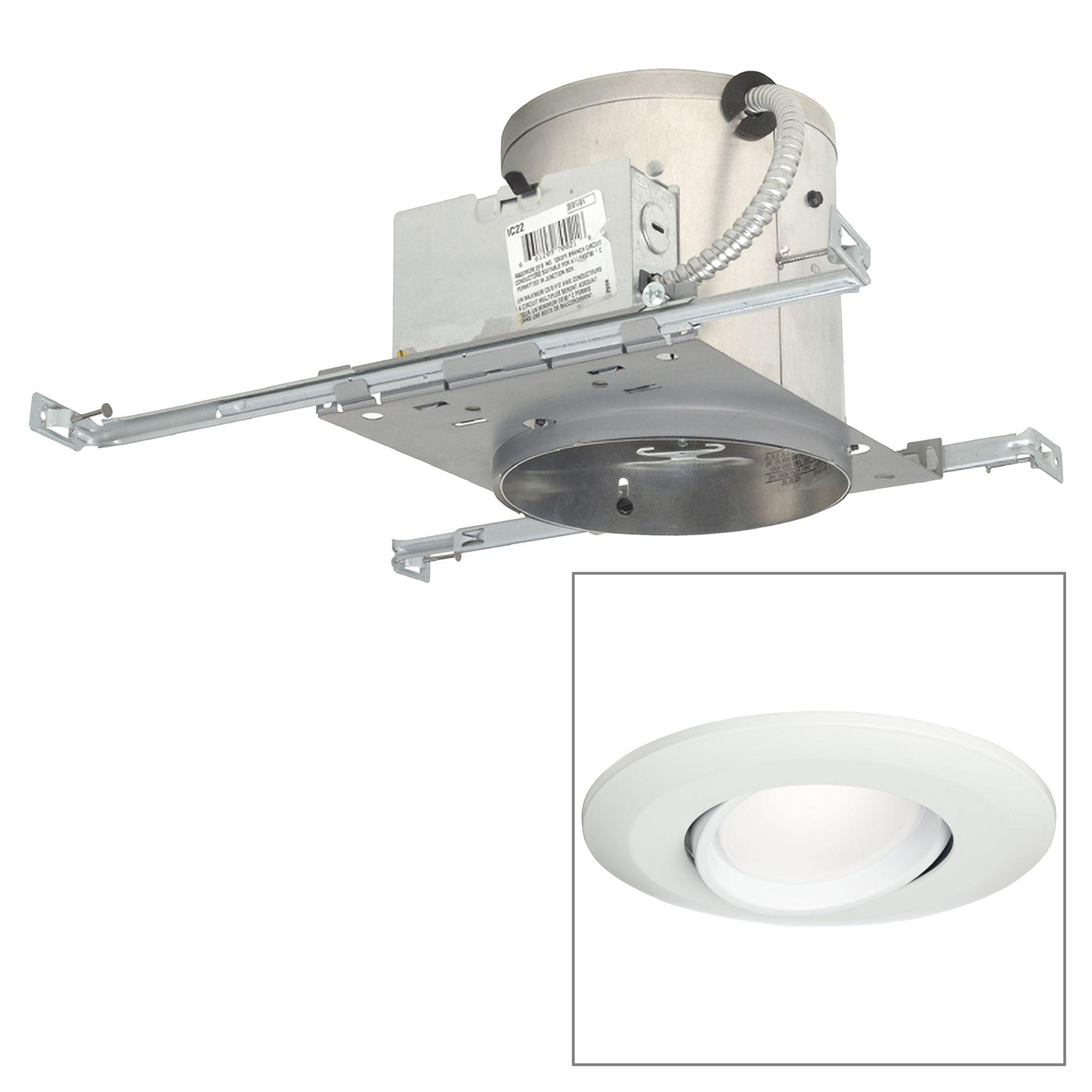 6 ic new construction 15w led eyeball recessed light kit