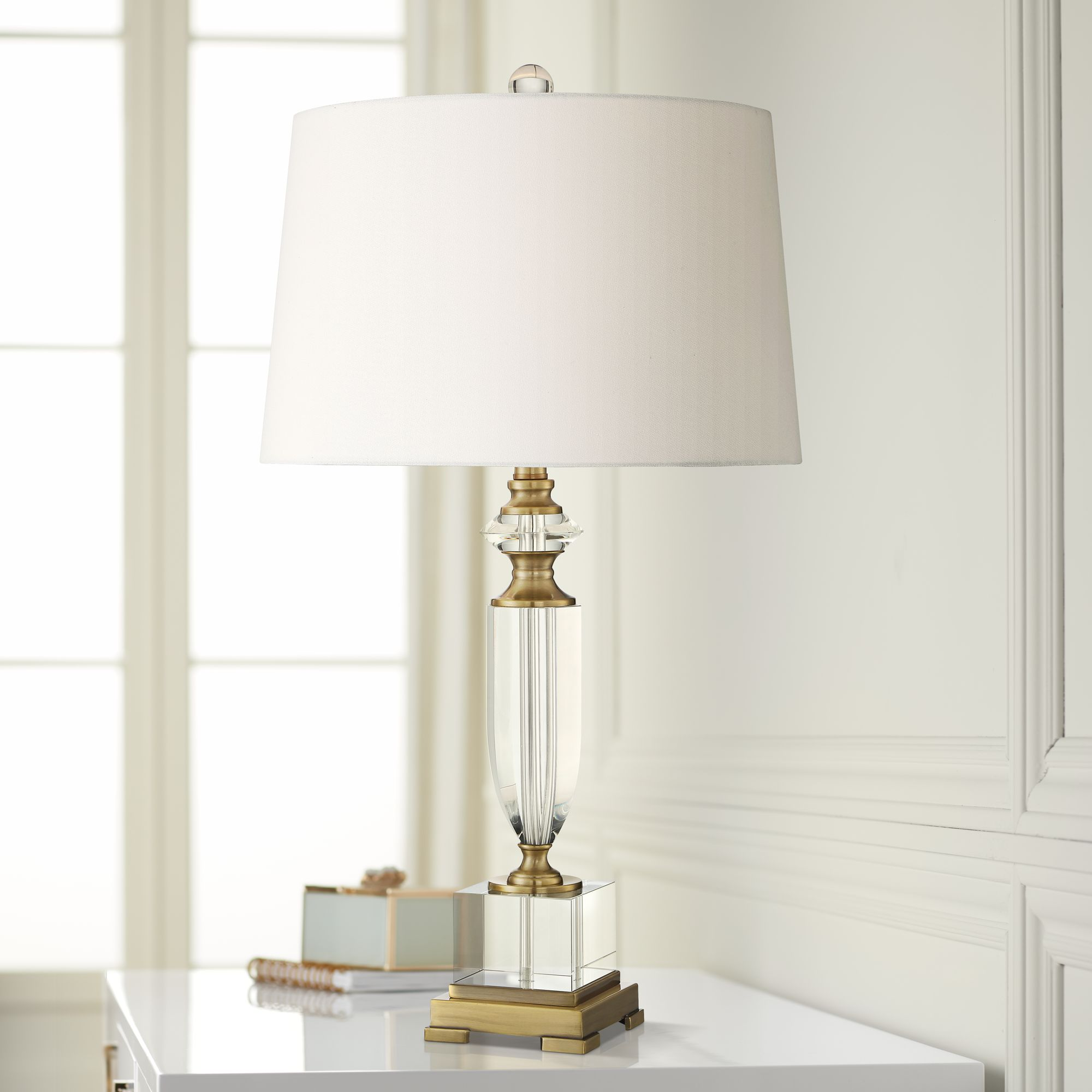 Details About Traditional Table Lamp Urn Clear Crystal Gold For Living Room Bedroom Bedside