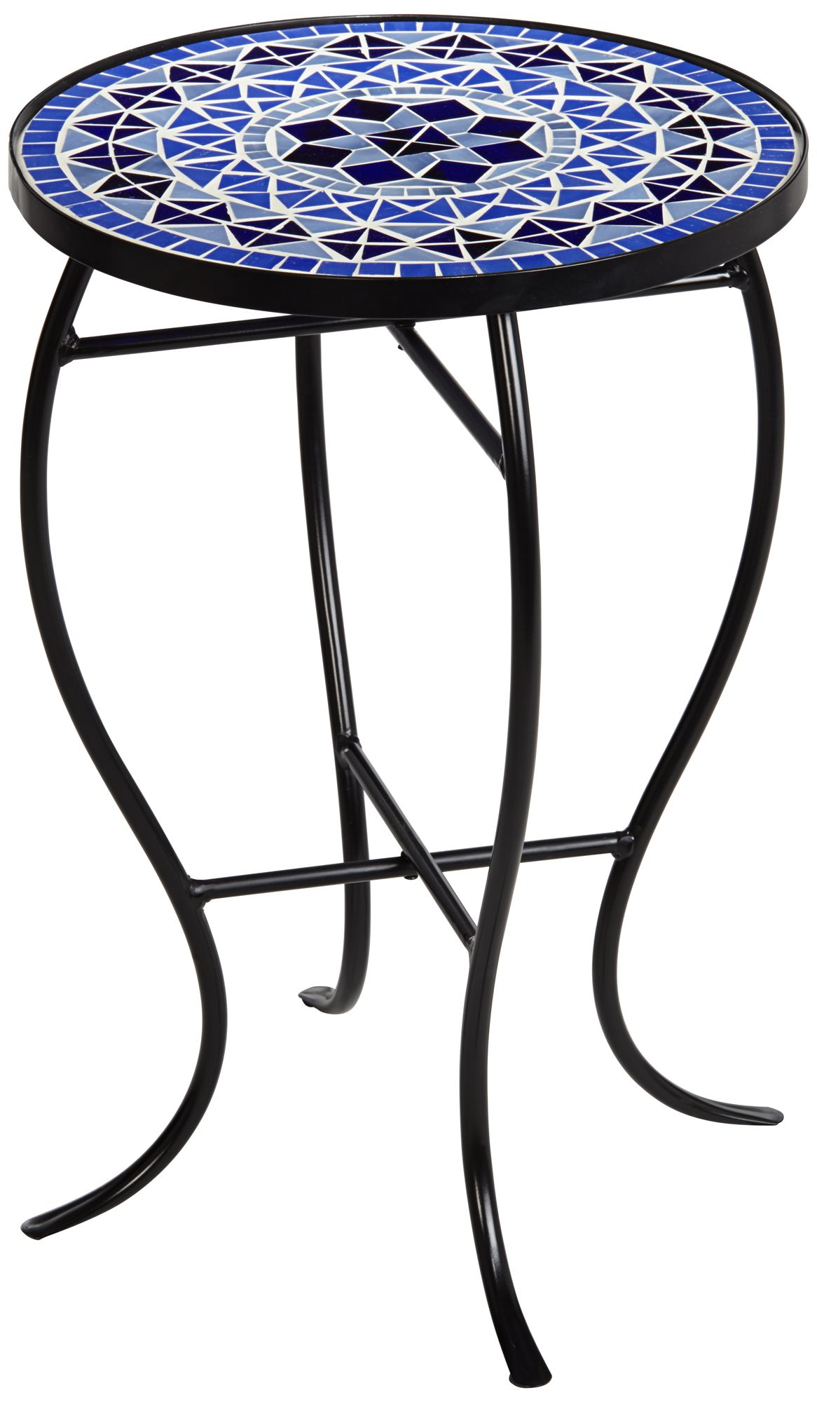 Cobalt Mosaic Black Iron Outdoor Accent Table - #6F095 ... on Outdoor Living Iron Mosaic id=51531