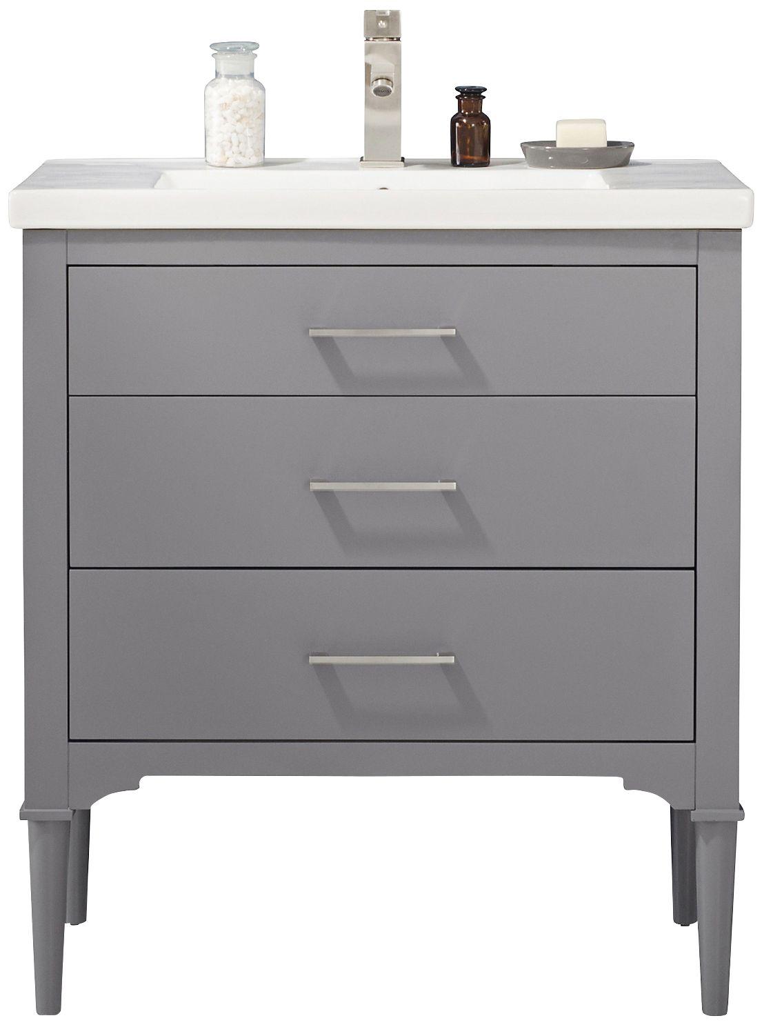 mason 30 wide 3 drawer porcelain gray single sink vanity