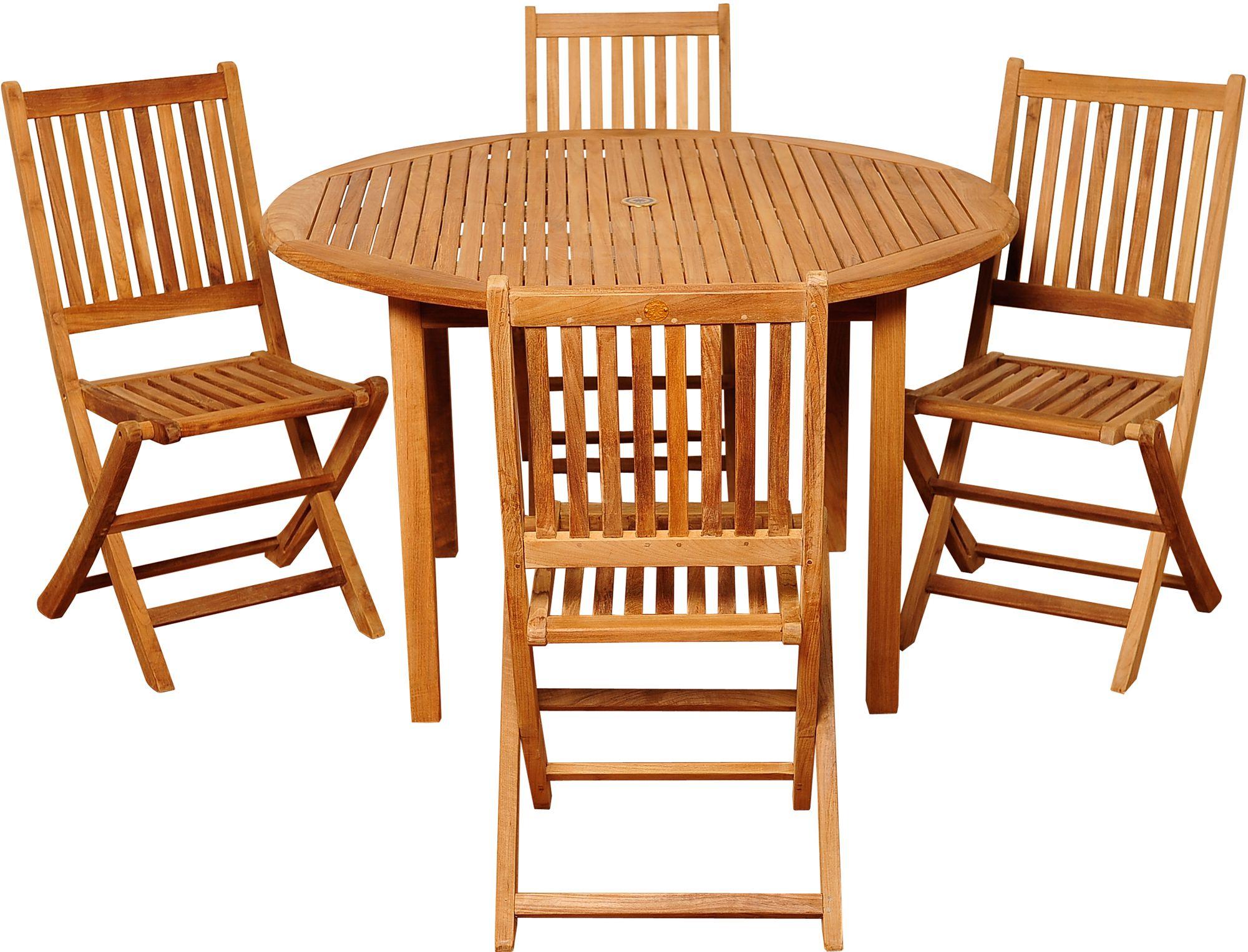 dallis teak folding chair 5 piece round patio dining set