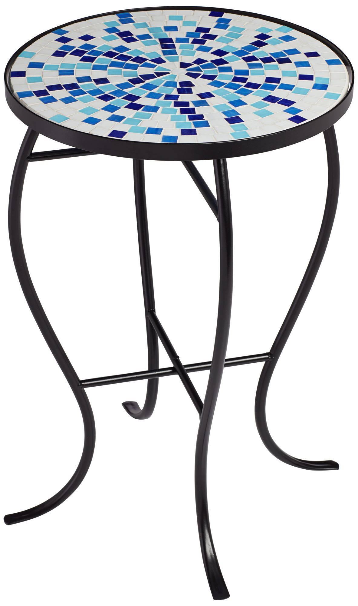 Multi Blue Mosaic Black Iron Outdoor Accent Table - #86M01 ... on Outdoor Living Iron Mosaic id=31686