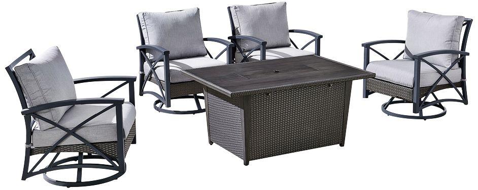 bentley iii gray 5 piece patio fire pit conversation set