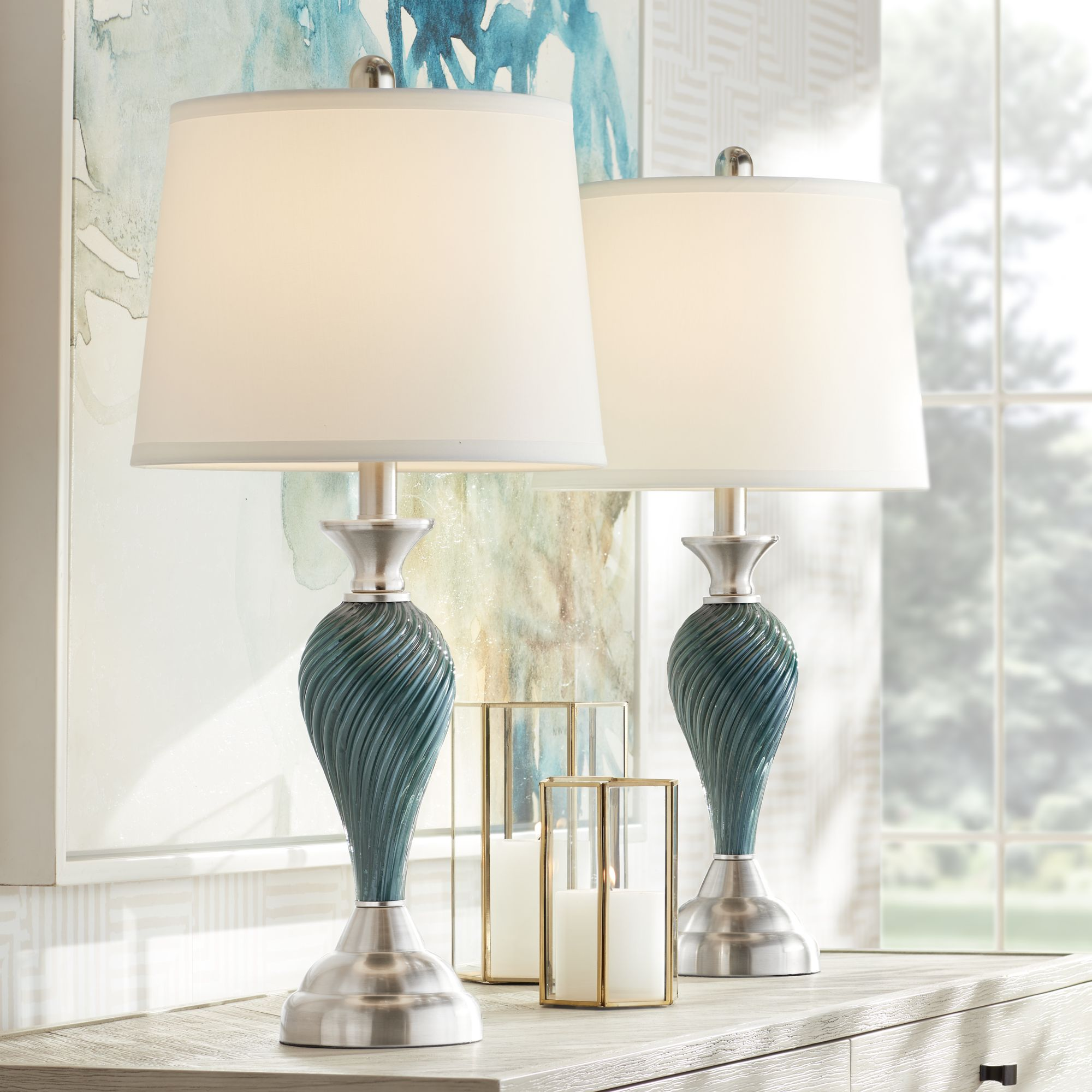 Details About Modern Table Lamps Set Of 2 Green Blue Glass Twist Column Living Room Bedroom