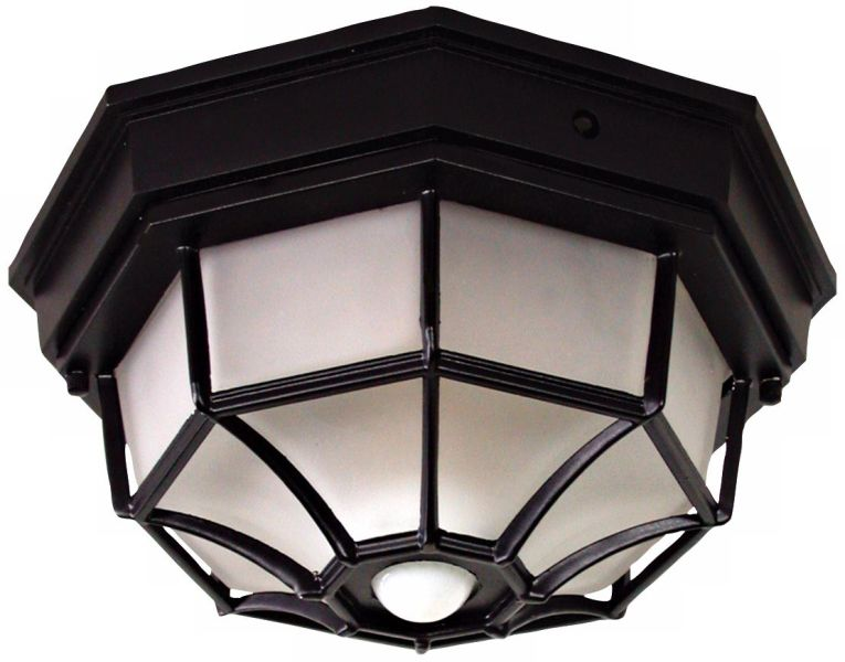Motion Sensor Outdoor Light Fixtures   Lamps Plus Octagonal 12  Wide Black Motion Sensor Outdoor Ceiling Light