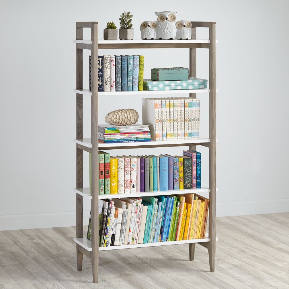 Wrightwood Grey Stain And White Bookcase The Land Of Nod