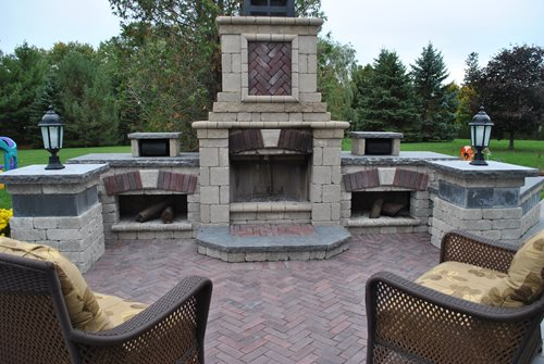 outdoor fireplace kits landscaping