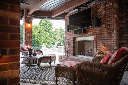 outdoor covered patio with fireplace Outdoor Brick Fireplace - Landscaping Network