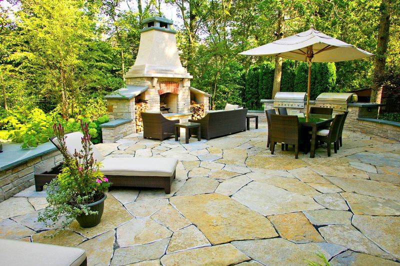 Flagstone Patio - Glencoe, IL - Photo Gallery ... on Flagstone Backyard Patio id=37351