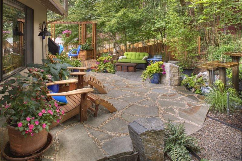 Flagstone Patio - Portland, OR - Photo Gallery ... on Small Backyard Stone Patio Ideas id=66352