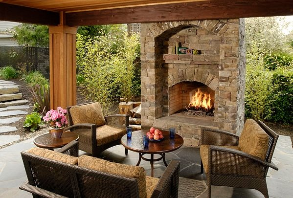Outdoor Fireplace - Portland, OR - Photo Gallery ... on Big Backyard Landscaping Ideas id=63632