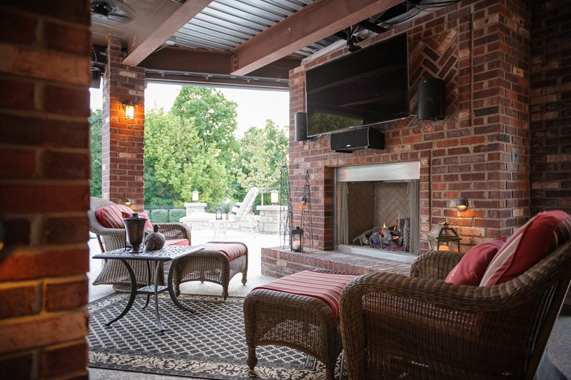 Outdoor Fireplace - St. Louis, MO - Photo Gallery ... on Covered Outdoor Kitchen With Fireplace id=49781