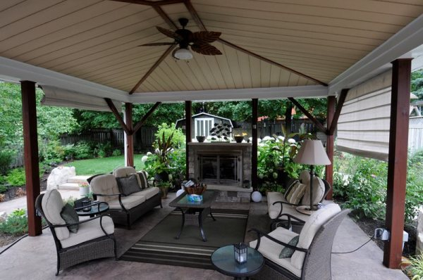 outdoor covered patio with fireplace Outdoor Fireplace - Puslinch, ON - Photo Gallery
