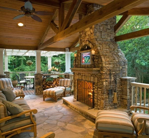 Outdoor Fireplace - Huntsville, AL - Photo Gallery ... on Covered Outdoor Kitchen With Fireplace id=75523