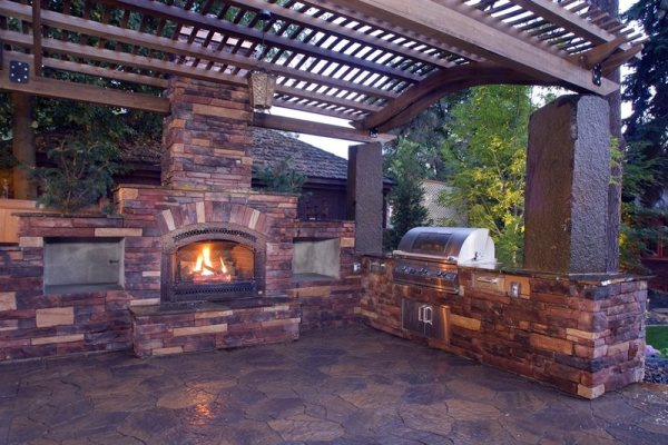 outdoor covered patio with fireplace and kitchen Pergola and Patio Cover - Mead, WA - Photo Gallery