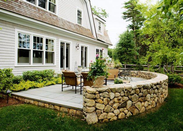 Retaining and Landscape Wall - Mattapoisett, MA - Photo ... on Garden Patio Wall Ideas id=44711
