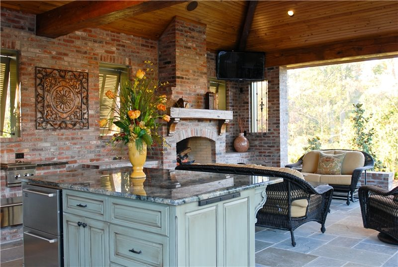 High-End Outdoor Kitchen in Louisiana - Landscaping Network on Covered Outdoor Kitchen With Fireplace id=77993