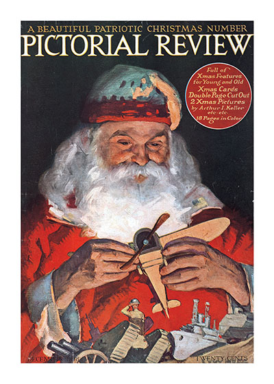 Santa With A Toy Airplane Magazine Covers Christmas Art