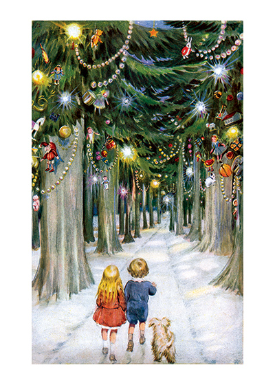 Children In A Christmas Forest Children Enjoying