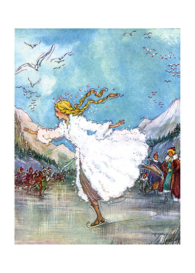 Skating On The Pond Women Art Prints