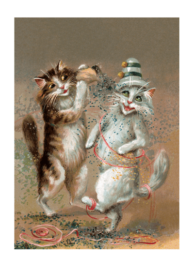 Two Cats Dancing With Confetti Congratulations Greeting Cards