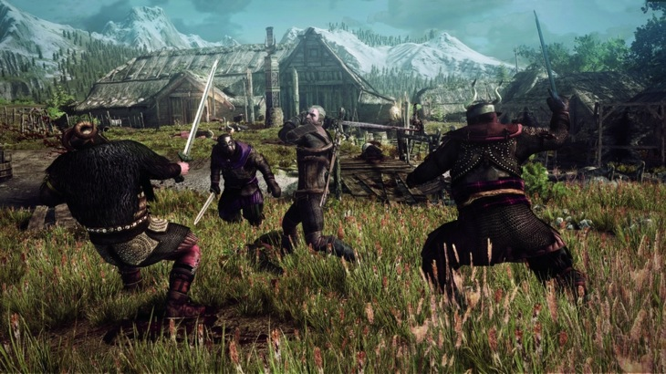 The witcher 3 wild hunt geralt fighting multiple opponents in a village in skellige psd jpgcopy